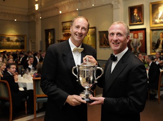 Man of Kent: Former Kent captain and 2002 winner, Matthew Fleming (right) receives the Walter Lawrence Trophy on behalf of Darren Stevens from Jonathan Agnew.