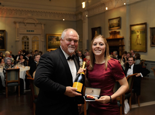 Magnum force: England's Heather Knight receives the Walter Lawrence Women's Award of a special medallion and a cheque for £500 from MCC President Mike Gatting.