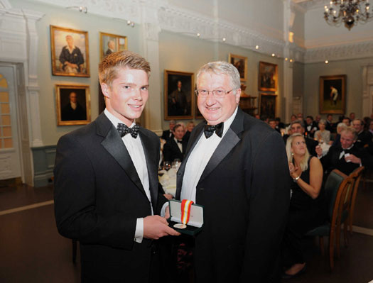 Top Coat: Walter Lawrence Schools Award winner, James Halson, receives his medallion and a cheque for £250 from David Collier, the Chief Executive of the ECB.
