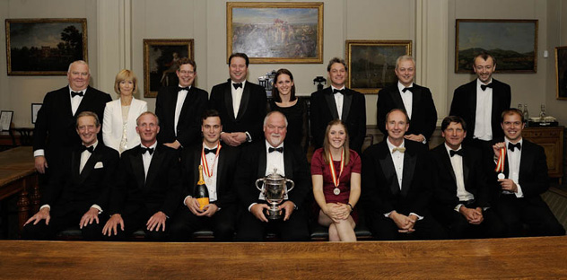 Standing left to right: Mark Lawrence, Serena White, Richard Gray, Jo Thornton, Serena Kaye, Michael Brooks, Nick Milne, Ben Thornton. Sitting left to right: Brian Thornton, Matthew Fleming, Ivo Hobson, Mike Gatting, Heather Knight, Jonathan Agnew, John Barclay, Ian Pollock