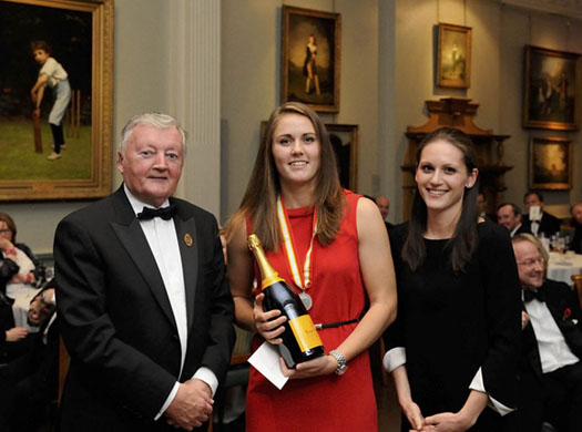Red Hot! England and Surrey all-rounder Natalie Sciver receives the Walter Lawrence Women's Award of a special medallion and a cheque for £500 from MCC President David Morgan, former ICC President and Chairman of The ECB. Serena Williams of Veuve Clicquot passes on the bubbly.