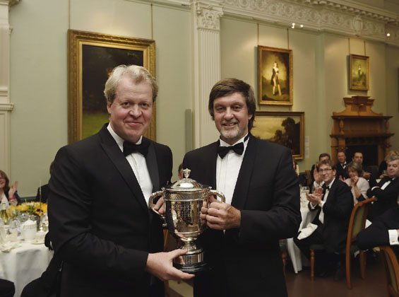 Where there's a Willey, there's a Winner! Lord Spencer, Patron of Northamptonshire CCC, presents the Walter Lawrence Trophy to former England, Leicestershire & Northants all-rounder Peter Willey, who collected the award on behalf of his son David, who was on England duty in the UAE.
